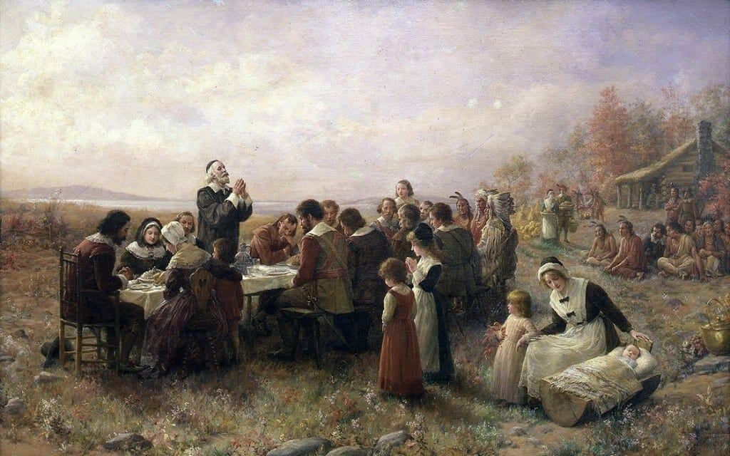 El primer Día de Acción de Gracias por Jennie A. Brownscombe (1914). Museo Pilgrim Hall