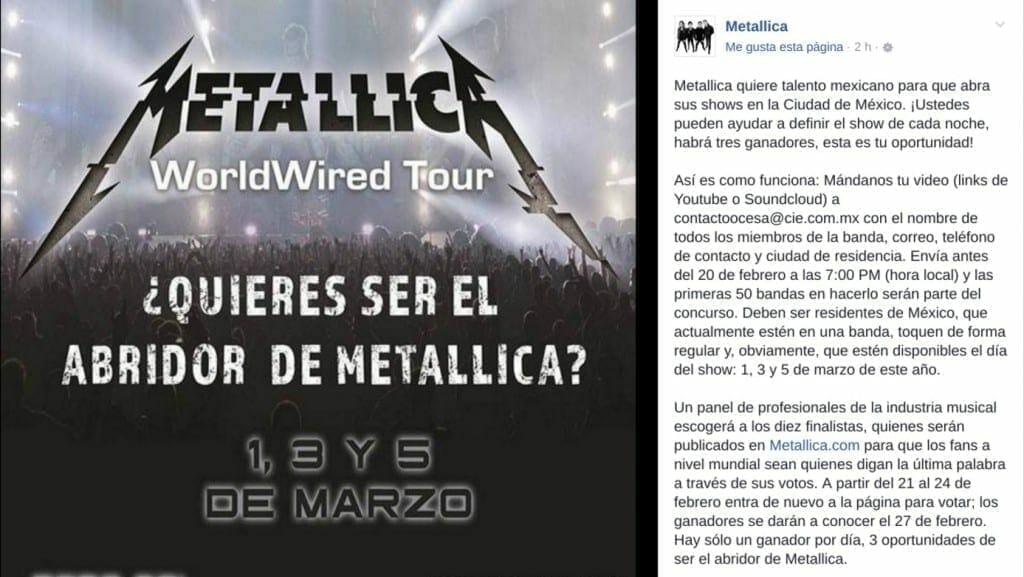 metallica redes facebook