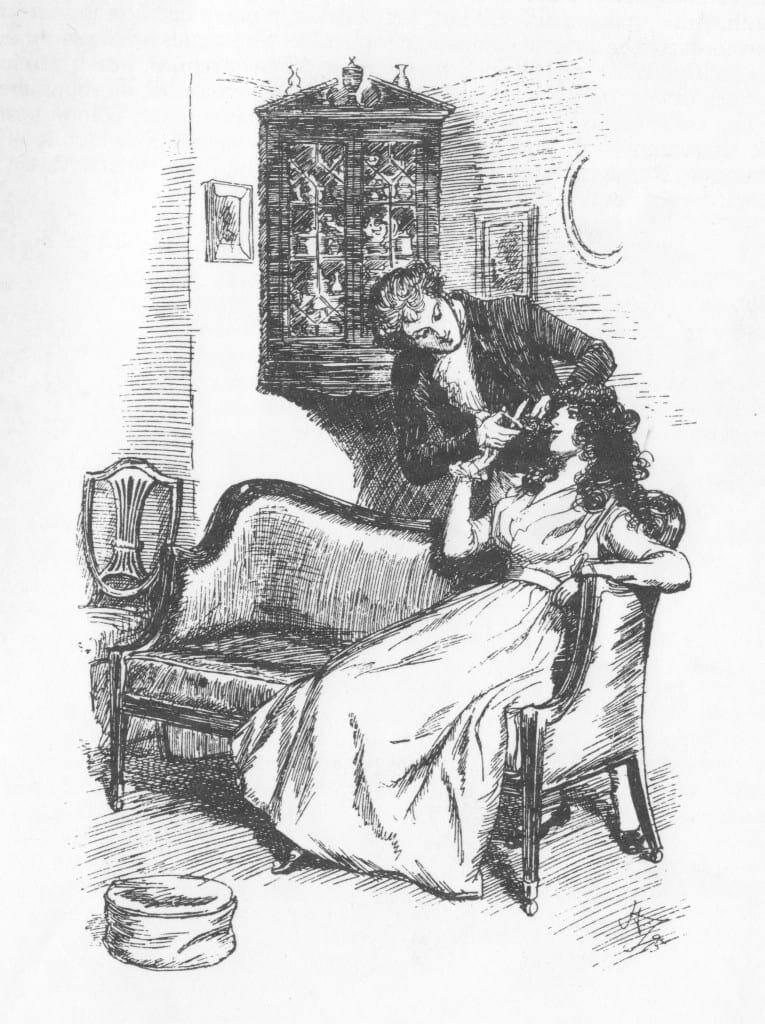Una ilustración del s. XIX con Willoughby cortando un rizo de Marianne.