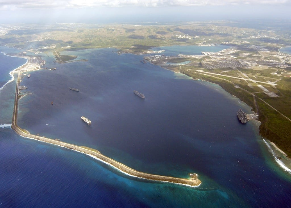 US Navy 030225 N 0000X 002 An aerial view of Apra Harbor on U.S. Naval Base Guam is seen during a fly by Feb. 25 2003