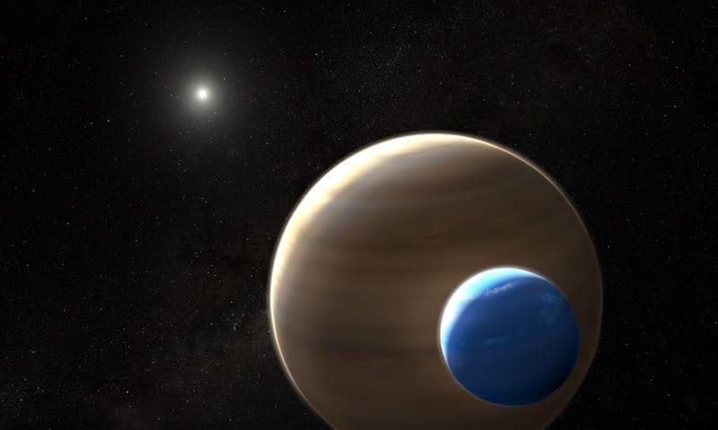 Los telescopios espaciales Hubble y Kepler de la NASA han descubierto lo que podría ser la primera luna fuera de nuestro sistema solar. Serán necesarias más observaciones para confirmar este descubrimiento. Image Credit: NASA/ESA/L. Hustak