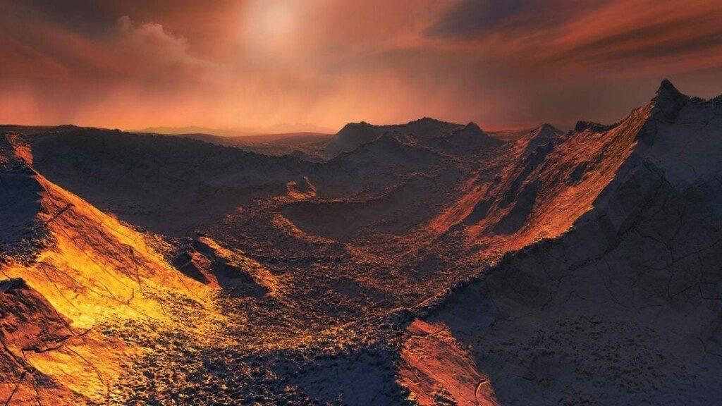 Ilustración de la superficie de una supertierra orbitando a la estrella de Barnard. Image Credit: ESO/M. Kornmesser