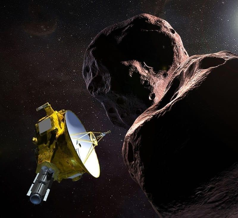 Ilustración de la nave espacial New Horizons de la NASA en su encuentro con MU69 2014, apodado