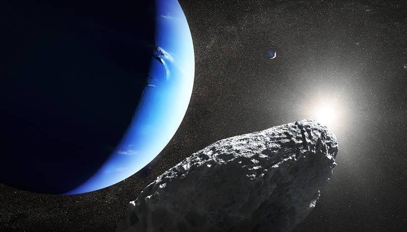 Concepto artístico de la pequeña luna Hipocampo que fue descubierta por el Hubble en 2013. Imge Credit: NASA, ESA and J. Olmsted (STScI)
