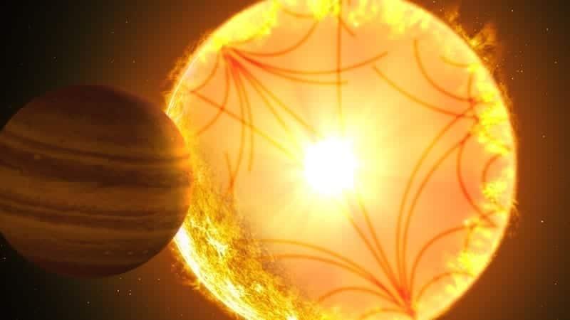 Concepto artístico del sistema Kepler-1658. Las ondas de sonido que se propagan a través del interior estelar se utilizaron para caracterizar la estrella y el planeta. Kepler-1658b, orbitando con un período de solo 3.8 días, fue el primer candidato a exoplaneta descubierto por Kepler hace casi 10 años. Crédito de la imagen: Gabriel Pérez Díaz / Instituto de Astrofísica de Canarias