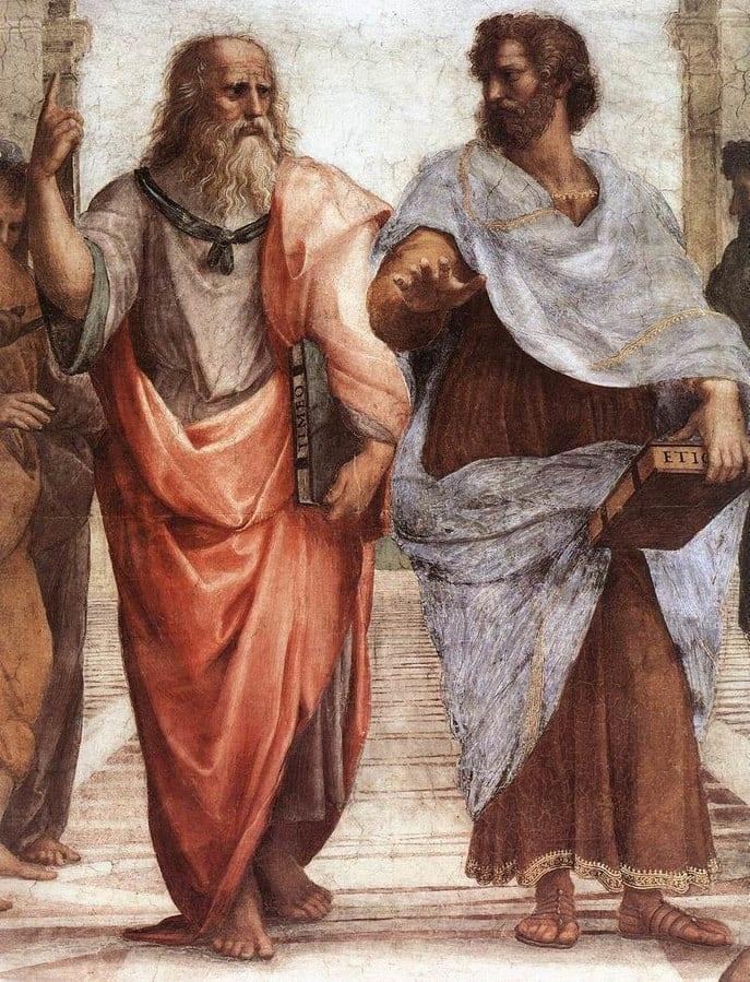 Aristóteles y Platón en el cuadro de Rafael, La Escuela de Atenas (1509)