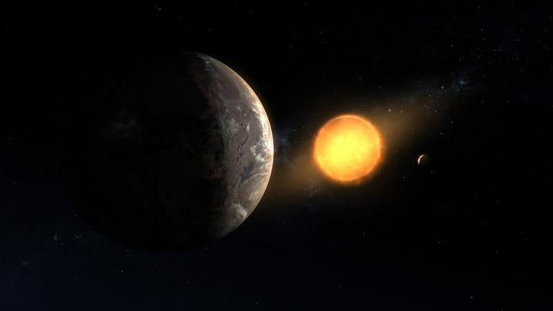 Una ilustración de Kepler-1649c orbitando alrededor de su estrella enana roja anfitriona. Este exoplaneta recién descubierto se encuentra en la zona habitable de su estrella y es el más cercano a la Tierra en tamaño y temperatura encontrado en los datos de Kepler.? ? Image Credit: NASA/Ames Research Center/Daniel Rutter