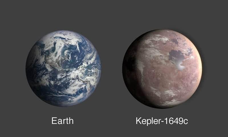 Una comparación de la Tierra y Kepler-1649c, un exoplaneta de solo 1,06 veces el radio de la Tierra. Image Credit: NASA/Ames Research Center/Daniel Rutter