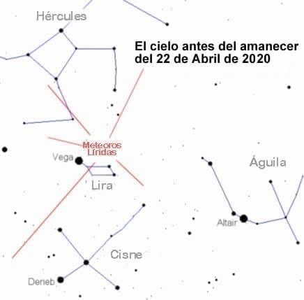 Mapa celeste para la observación de las Líridas la madrugada del 22 de Abril de 2020. Image Credit: NASA/NASANET