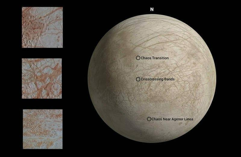 El mapa de arriba muestra ubicaciones donde cada imagen, que muestra una variedad de características, fue capturada por Galileo durante su octavo sobrevuelo de la luna Europa de Júpiter. Image Credit: NASA/JPL-Caltech