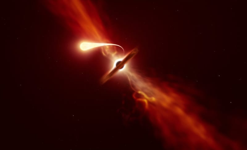 Representación artística de una estrella con efecto de disrupción de marea provocado por un agujero negro supermasivo. Image Credit: ESO/M. Kornmesser