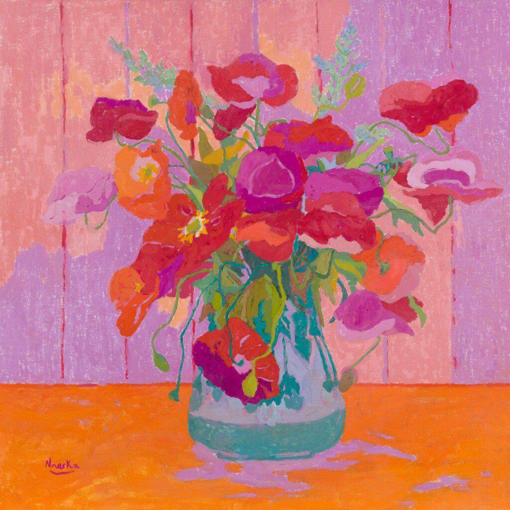 Amapolas. 50 x 50 cm. óleo sobre lienzo