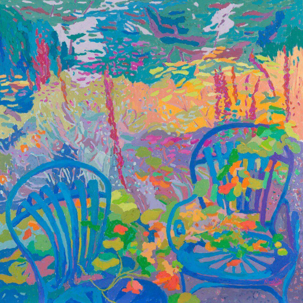 Las sillas vacías. 65 x 65 cm. óleo sobre lienzo